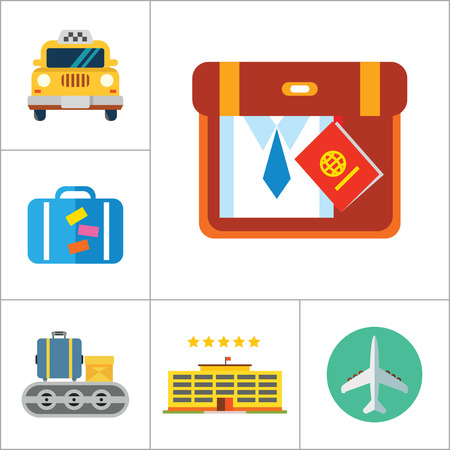 luggage carrier: Travel icons set with airplane, flight ticket and suitcase. Thirteen vector icons