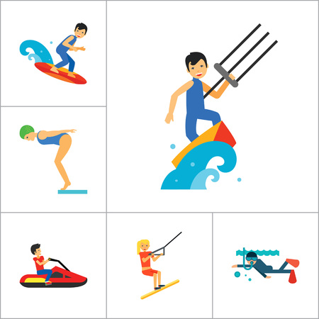 kite surfing: Water Sport Icon Set. Waterskiing Water Jumping Diving Water Polo Windsurfing Swimming Surfing Kayaking Sailing Ship Jet Skiing Kite Surfing River Adventure Boat With Oars