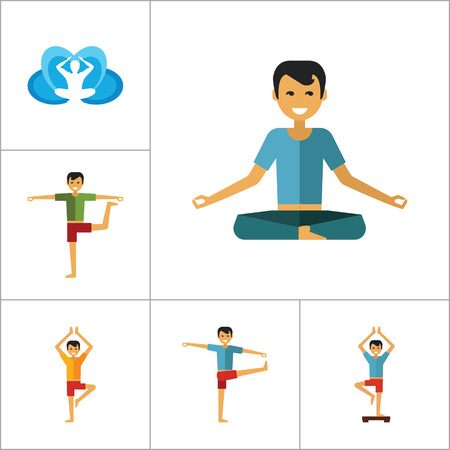 yogi: Yoga Icon Set. Infinity Meditation Handstand Virabhadrasana Lotus Position Yoga Sign Man Meditating Yogi Man Doing Yoga Man Doing Exercises Vrksasana Virabhadrasana Virasana