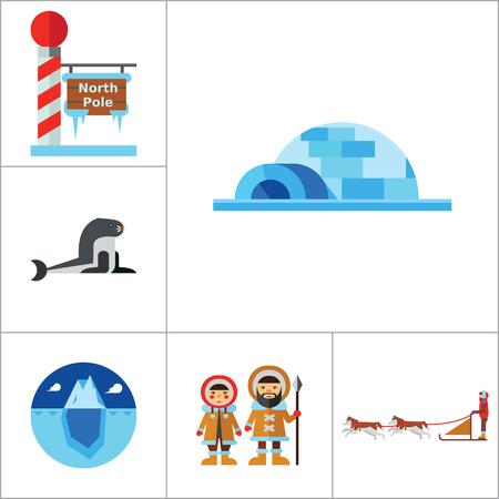 esquimales: North Pole Icon Set. Polar Bears Dogteam Eskimos North Lights North Pole Igloo Lumberjack Axes Iceberg Whale Walrus Ice Walrus Face Sea Calf