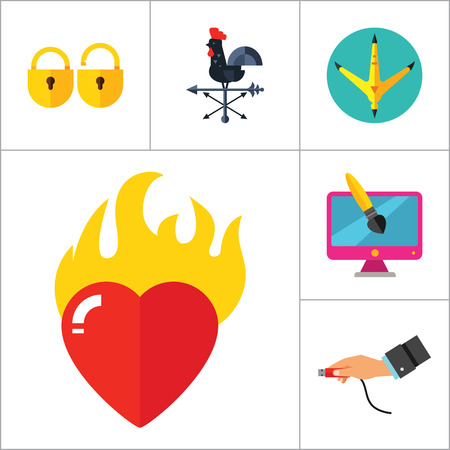 burning heart: Abstract Concepts Icon Set. Team Press Button Burning Heart Hand With USB Cable Padlocks Weathercock Hen Paw Print Man With Megaphone Infinity Fashion Design Brush Paint Tube