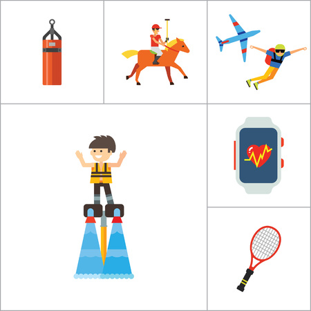 Active Sport Icon Set. Volleyball Tennis Racket Punchbag Horseracing Parachute Jump Flyboard Smartwatch Bicycle Helmet Boxing Gloves Canoeing Rollerblading Jet Skiing