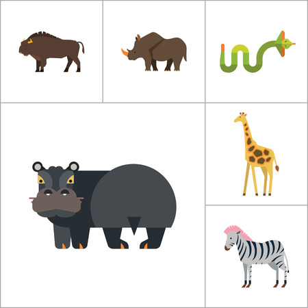 African Animals Icon Set. Paw Trace Zebra Lion Rhinoceros Cobra Hippopotamus Big Elephant Ox Giraffe Fat Elephant Crying Hippo Angry Cobra Young Giraffe Illustration