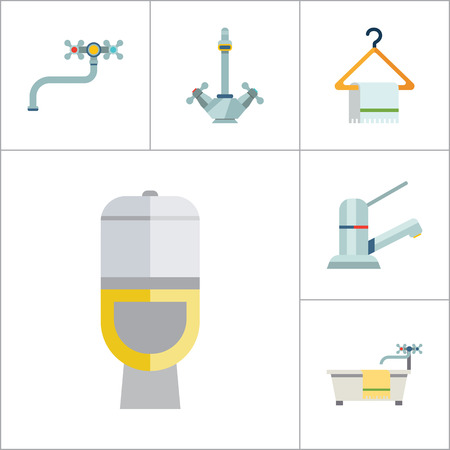 paper hanger: Bathroom Icon Set. Sink And Mirror Towel On Hanger Toilet Pan Toilet Paper Shower Spray Bath Tube Bathroom Interior Water Tap Mixer Tap Faucet With Hose Chrome Mixer Tap Ball Valve Silver Water Tap