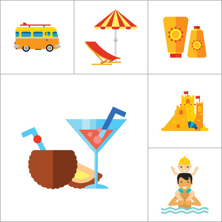 Beach Icon Set. Sun In Sunglasses Swimming Surf Board Bus Sun Umbrella Sunblock Cream Cocktails Sand Castle Aloha Shirt Lifeguard Tower Sunglasses Pointer To Beach Flippers And Diving Mask Summer Heat Illustration