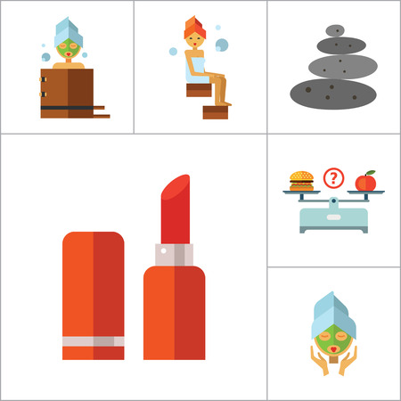 perfume woman: Beauty Icon Set. Woman With Curls Diet Concept Aroma Lamp Face Cream Fish Peeling Products On Scales Lipstick Sponge Stone Therapy Perfume Woman With Mudpack On Face Woman In Bath Woman In Steamroom Illustration