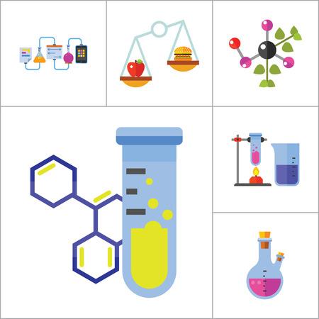 balanza de laboratorio: Icono de la biología Set. Estructura celular frasco de la prueba de tubo Productos En Escalas de calefacción del tubo de ensayo del Genoma Humano de la molécula de ADN plantas genéticamente modificadas a base de plantas Cápsula química experimento de Creative Reciclaje de la muestra