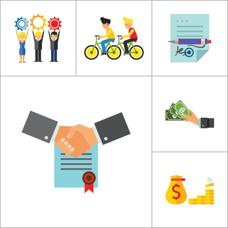 signing: Business Icon Set. Head Hunting Money Team Workforce Signing Contract Personal Connection Cash Business Data Budget Analysis Business Style Report Illustration