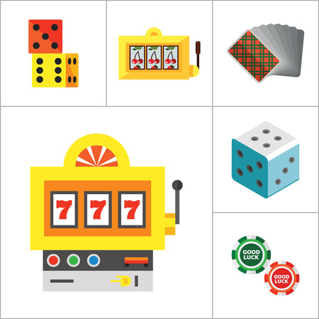 gambling counter: Casino Icon Set. Roulette Poker Chips Dice Slot Machine Display Playing Cards Slot Machine Casino Dice Croupier Casino Symbol Cards Suits Horseshoe And Shamrock Jackpot