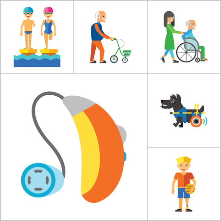 blind dog: Disabled Icon Set. Blind Crutches Deaf Hearing Aid Insomnia Walker Elderly People Old Age Sportsman With Prosthesis Nurse And Patient Amputated Limbs Disabled Dog