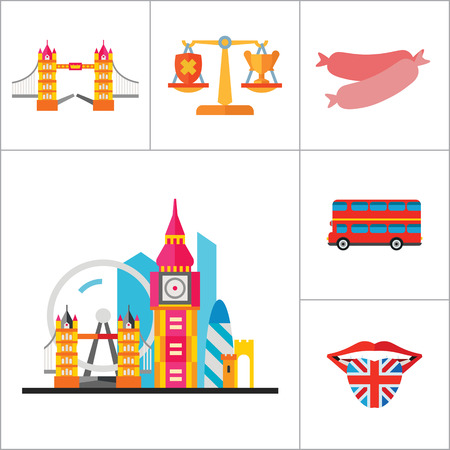 london tower bridge: England Icons Set. United Kingdom English Language Fish And Chips Dog London Bus Coach Horse London Rain Canned Fish Sausages Scales London Tower Bridge Queen Illustration