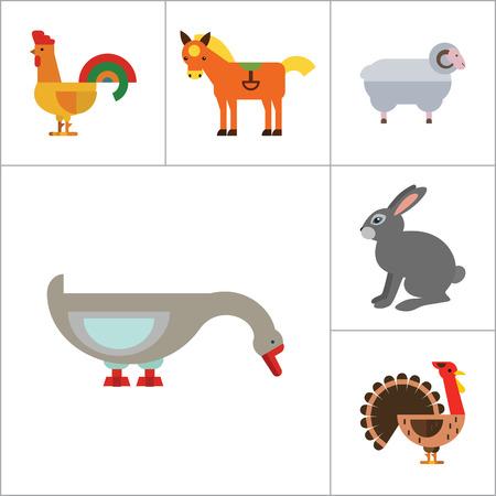 turkey hen: Farm Animal Icon Set. Cow Hen And Egg Turkey Goose Cockerel Duck Goat Pecking Goose Ram Pig Horse Rabbit Spotted Cow