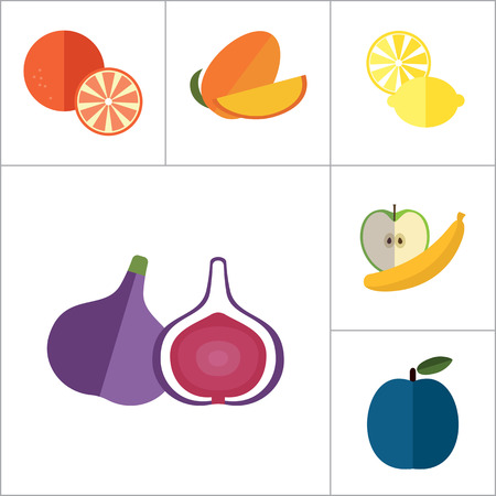 orange cut: Fruit Icon Set. Lemon Apple And Banana Orange Melon Mango Cut Carambola Cut Fig Ripe Plum Guava Fruit Apricot Apple Bird Cherry Passion Fruit