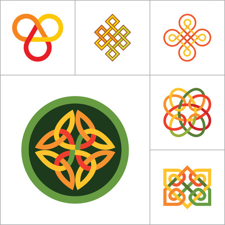 auspicious: Pattern Icon Set. Hexagon Pattern Infinite Knot Traditional Knot Chinese Amulet Round Pattern Creative Pattern Square Pattern Eternal Knot Decorative Element Pattern Auspicious Symbol Endless Knot