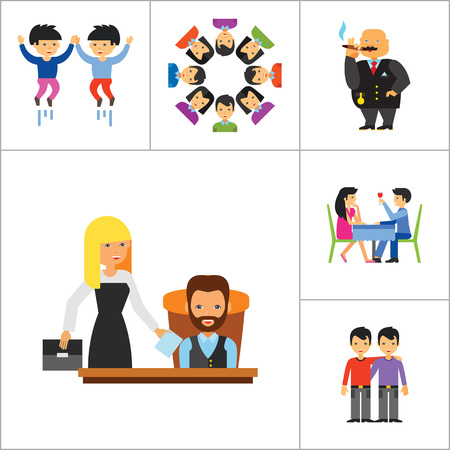 rich couple: People Icon Set. Family Showing Respect Amour Symbol Couple On Park Bench Dating Team Dinner Friends Greeting Boss Director Common Idea Rich Person Illustration