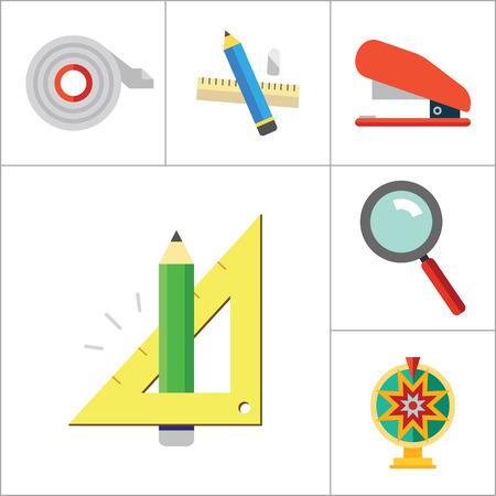 ball pens stationery: iconos conjunto de vectores de papelería. Trece iconos de las bolas de colisión, transportador, goma de borrar y otros artículos de papelería de oficina Vectores