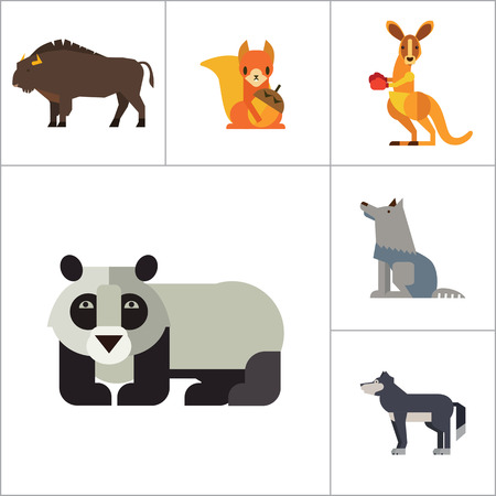 bear paw: Wild Animals Icon Set. Bear Paw Trace Koala Hare Lynx Fox Squirrel Panda Squirrel With Nut Kangaroo Wolf Wisent