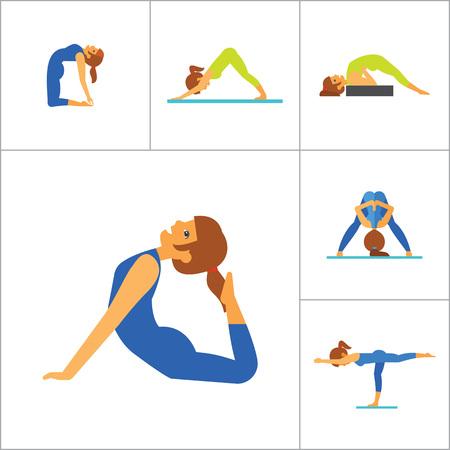 Yoga Icon Set. Meditation Rajakapotasana Sarvangasana Halasana Ustrasana Astavakasana Bakasana Handstand Virabhadrasana Svanasana Prasarita