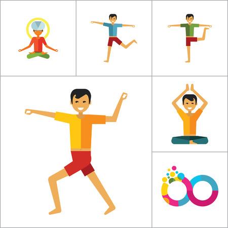 man meditating: Yoga Icon Set. Infinity Meditation Handstand Virabhadrasana Lotus Position Yoga Sign Man Meditating Yogi Man Doing Yoga Man Doing Exercises Vrksasana Virabhadrasana Virasana