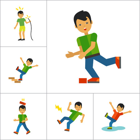 drowning: Accident Icon Set. Falling From Chair Falling Down Stairs Boy Slipping Stumbling Falling Boy With Broken Arm Man With Broken Leg Drowning Man Brick Falling On Man Electrical Shock Man In Wheelchair