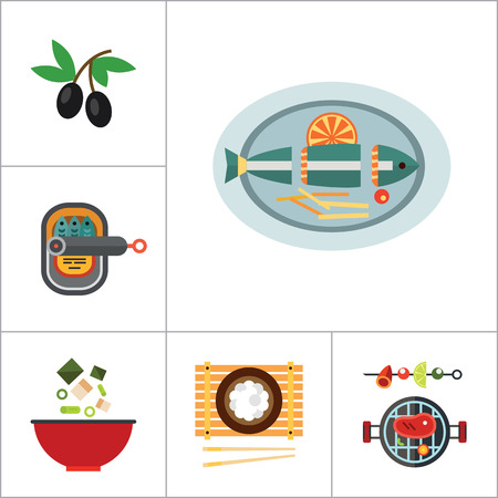 sardines: Food Icon Set. Olives Open Can With Sardines Watermelon Avocado Sushi Set Miso Soup Pasta Paella Served Fish Jam Jars Barbecue Rice