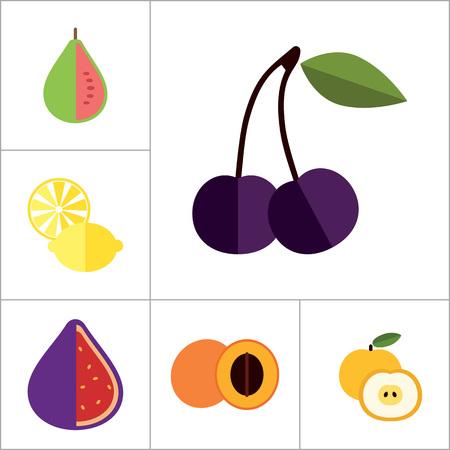 guava fruit: Fruit Icon Set. Lemon Apple And Banana Orange Melon Mango Cut Carambola Cut Fig Ripe Plum Guava Fruit Apricot Apple Bird Cherry Passion Fruit