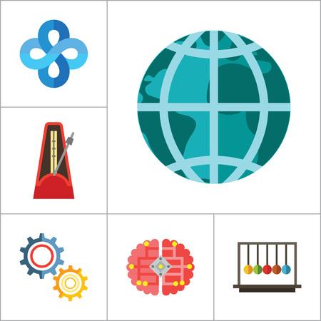 Mathematics Icon Set. Gear Wheel Drawing Metronome With Pendulum Collision Balls Globe Cubes Diagram Philosophy Symbol Logic Concept Algebra Cable Artificial Intelligence Gravity Force Illustration