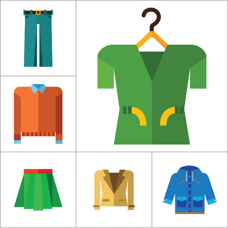 Modern Clothes Icon Set. T-shirt Jeans Bow Tie Hoody Sweatshirt Trousers Pleated Skirt Orange Sweater Coat Beige Jacket Polo Shirt Blue Raincoat Green Jacket Clothes On Hanger