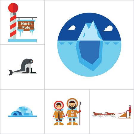 esquimales: Polo Norte Icon Set. Osos polares Dogteam esquimales del norte de luces Polo Norte Igloo leñador ejes Iceberg ballena morsa morsa hielo Cara Becerro Mar