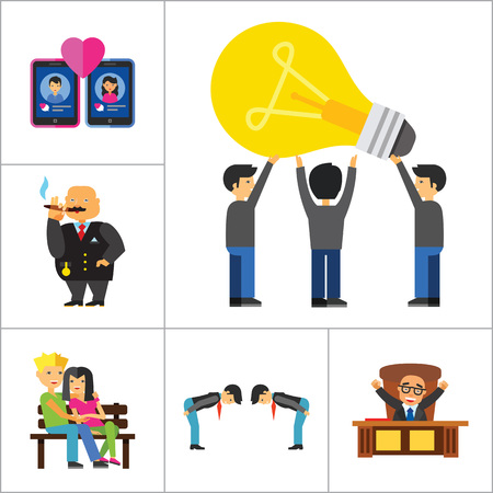 common people: People Icon Set. Family Showing Respect Amour Symbol Couple On Park Bench Dating Team Dinner Friends Greeting Boss Director Common Idea Rich Person Illustration