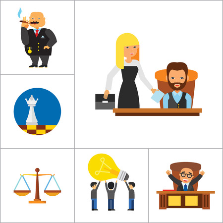 strategic management: Strategy Icon Set. Team Structure Common Idea Director Executive Manager Rich Person Team Time Management Challenge Boss Scales Strategic Management Vision Team Leader Illustration