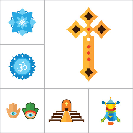 om sign: Religion vector icons set with Om sign, Hamsa amulet and Holy Spirit dove. Thirteen flat icons