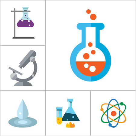 thirteen: Science icons set with microscope, test tubes and lab rat. Thirteen vector icons