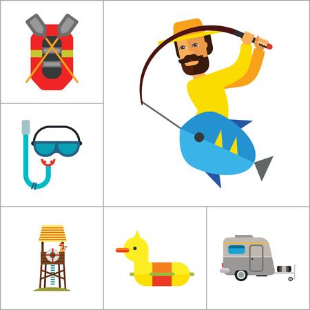 Sea Vacation Icon Set. Caravan Man potable Mask Cocktail Rubber Duck et tuba en caoutchouc Bateau piscine Père Et Tour Lifeguard enfant Pêche Man With Meditation Surfboard Bikini Flippers