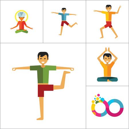 Yoga Icon Set. Infinity Meditation Handstand Virabhadrasana Lotus Position Yoga Sign Man Meditating Yogi Man Doing Yoga Man Doing Exercises Vrksasana Virabhadrasana Virasana