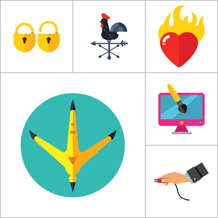 Abstract Concepts Icon Set. Team Press Button Burning Heart Hand With USB Cable Padlocks Weathercock Hen Paw Print Man With Megaphone Infinity Fashion Design Brush Paint Tube
