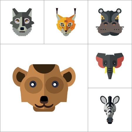 lynx: Animal Faces Icon Set. Lion Head Zebra Head Hippo Head Giraffe Head Lion Face Wolf Head Elephant Head Antelope Head Meerkat Head Doe Head Ox Face Red Lynx Head Bull Head