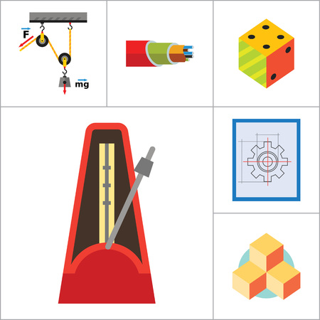 philosophy: Mathematics Icon Set. Gear Wheel Drawing Metronome With Pendulum Collision Balls Globe Cubes Diagram Philosophy Symbol Logic Concept Algebra Cable Artificial Intelligence Gravity Force Illustration