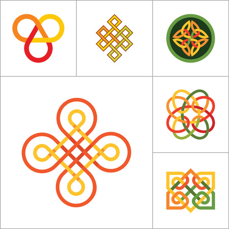 auspicious element: Pattern Icon Set. Hexagon Pattern Infinite Knot Traditional Knot Chinese Amulet Round Pattern Creative Pattern Square Pattern Eternal Knot Decorative Element Pattern Auspicious Symbol Endless Knot