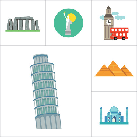hedge: Tourist attraction icons set. Thirteen vector icons of Eiffel Tower, Big Ben, Pyramids and other tourist attractions Illustration