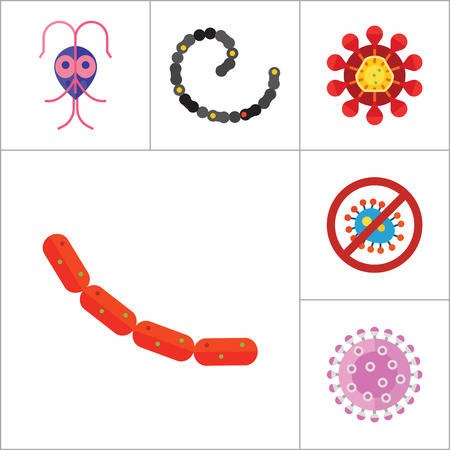 influenza: Virus icons set. Thirteen vector icons of influenza virus, coronavirus, adenovirus and other bacteria