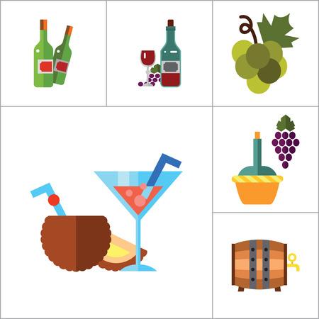 Wine Icon Set. Dinner Summer Cocktails Bunch Of Grapes Bottle Of Wine And Glass Lemonade Cloves Grapes Wooden Barrel Bottle Opener Green Grapes Wine Bottles Cinnamon Bottle And Grapes Bunch