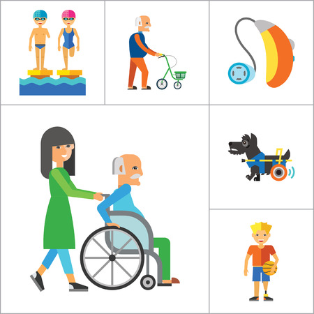 Disabled Icon Set. Blind Crutches Deaf Hearing Aid Insomnia Walker Elderly People Old Age Sportsman With Prosthesis Nurse And Patient Amputated Limbs Disabled Dog