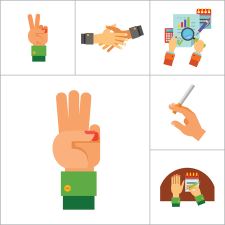 gesture set: Hands Icon Set. Handprints Hand With Hammer Writing Three Fingers Up Cross Fingers Four Fingers Up Hand With Cigarette Finger Up Victory Gesture Colored Palm Drink Gesture Business Hands Handshake Illustration