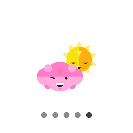 cartoon cloud: Multicolored vector icon of sun with sad face and smiling cloud