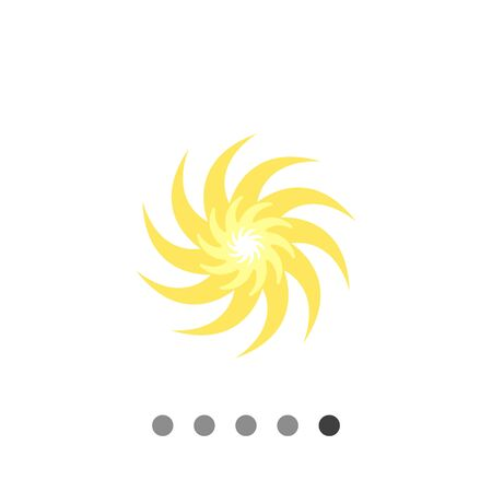 Icon of sun with swirl beams