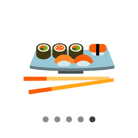 served: Multicolored vector icon of sushi set served on special plate with chopsticks