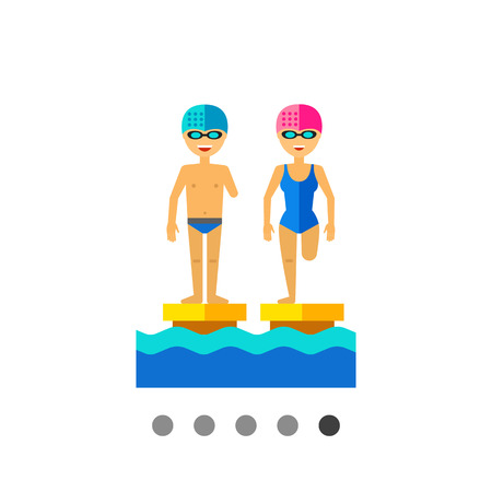 limbs: Multicolored flat icon of disabled people with amputated limbs in swimming pool Illustration