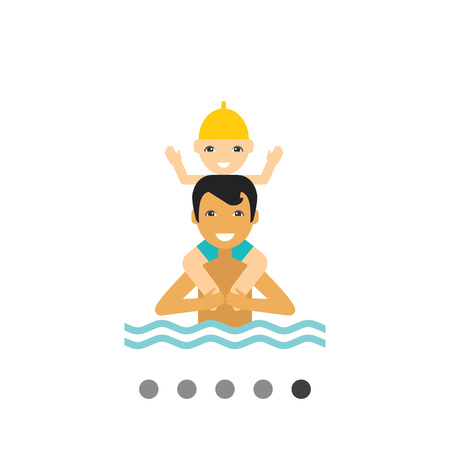 Swimming father and child vector icon. Multicolored illustration of man standing in water and holding boy on his shoulders Illustration