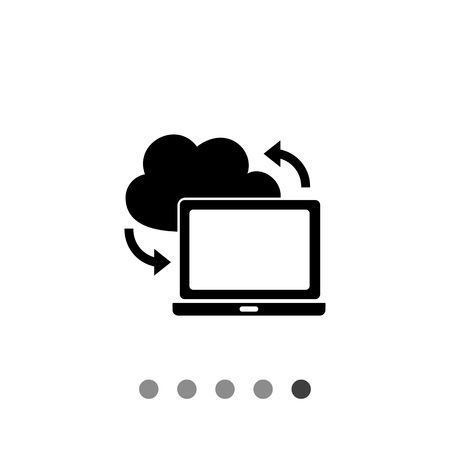 reloading: Laptop with cloud sign. Synchronization, download, Internet, technology. Synchronization concept. Can be used for topics like technology, network, Internet